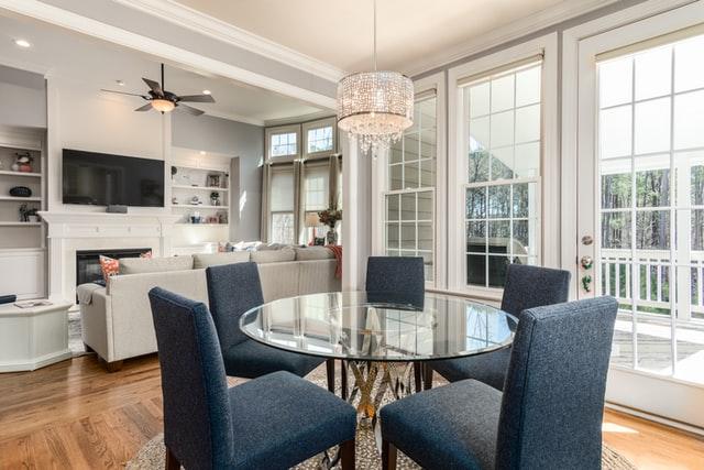 dining area with beautiful windows