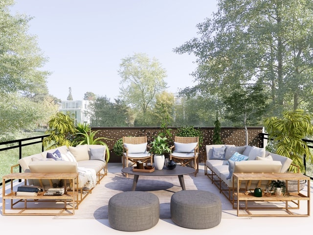 Outdoor Patio With Chic Furniture
