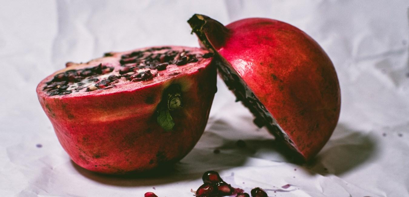 Pomegranate cut in half