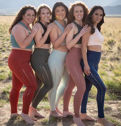 5 women all sizes in Savvi yoga clothing