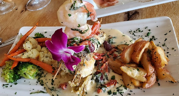 Grilled Halibut and Shrimp on a plate
