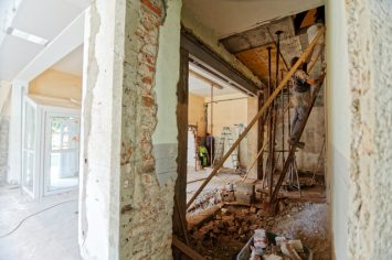 two images of a home being renovated. what it looks like and will look like.