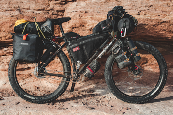 a black bicycle designed for bikepacking